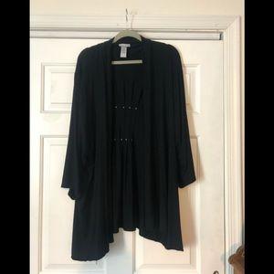 Catherines- black cardigan- sz. 4x - 3/4 sleeves